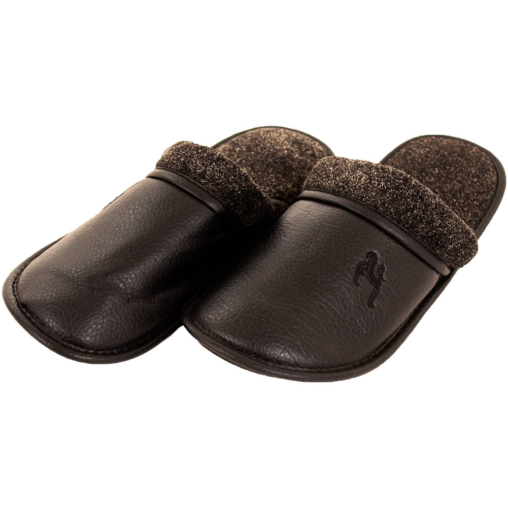 mens slippers slip on house shoes faux leather fleece