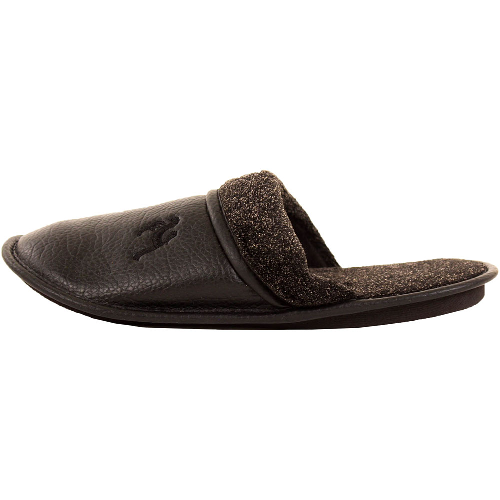 Mens Slippers Slip On House Shoes Faux Leather Fleece ...
