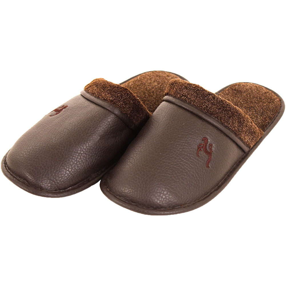 details about mens slippers slip on house shoes faux leather fleece