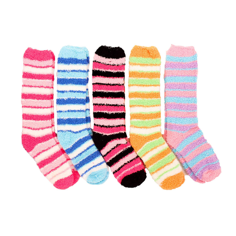 5 Pairs Womens Cozy Socks Fuzzy Plush Extra Long Knee High Slipper Winter Soft | EBay