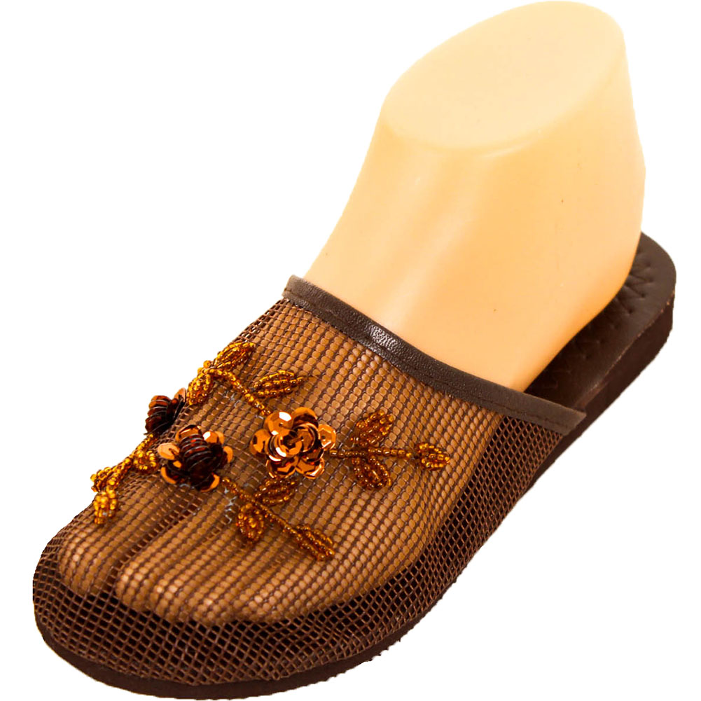 0cde4ea4353 Details about Womens Chinese Mesh Slippers Slides Slip On Sandal House Shoe  Floral Sequin Bead