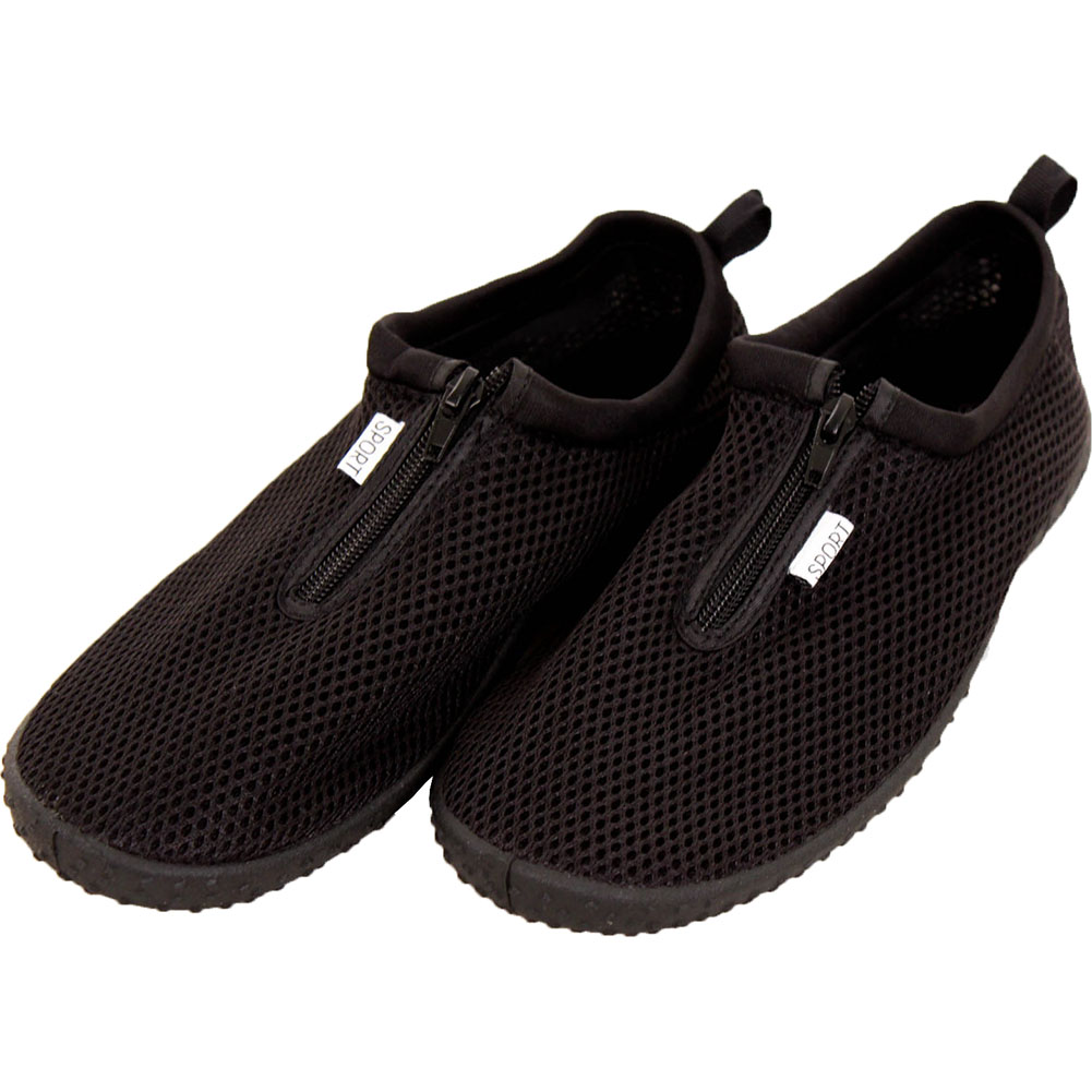 Mens Water Shoes Aqua Socks Sports Slip On Flexible Pool Swim Beach Surf Zipper Black